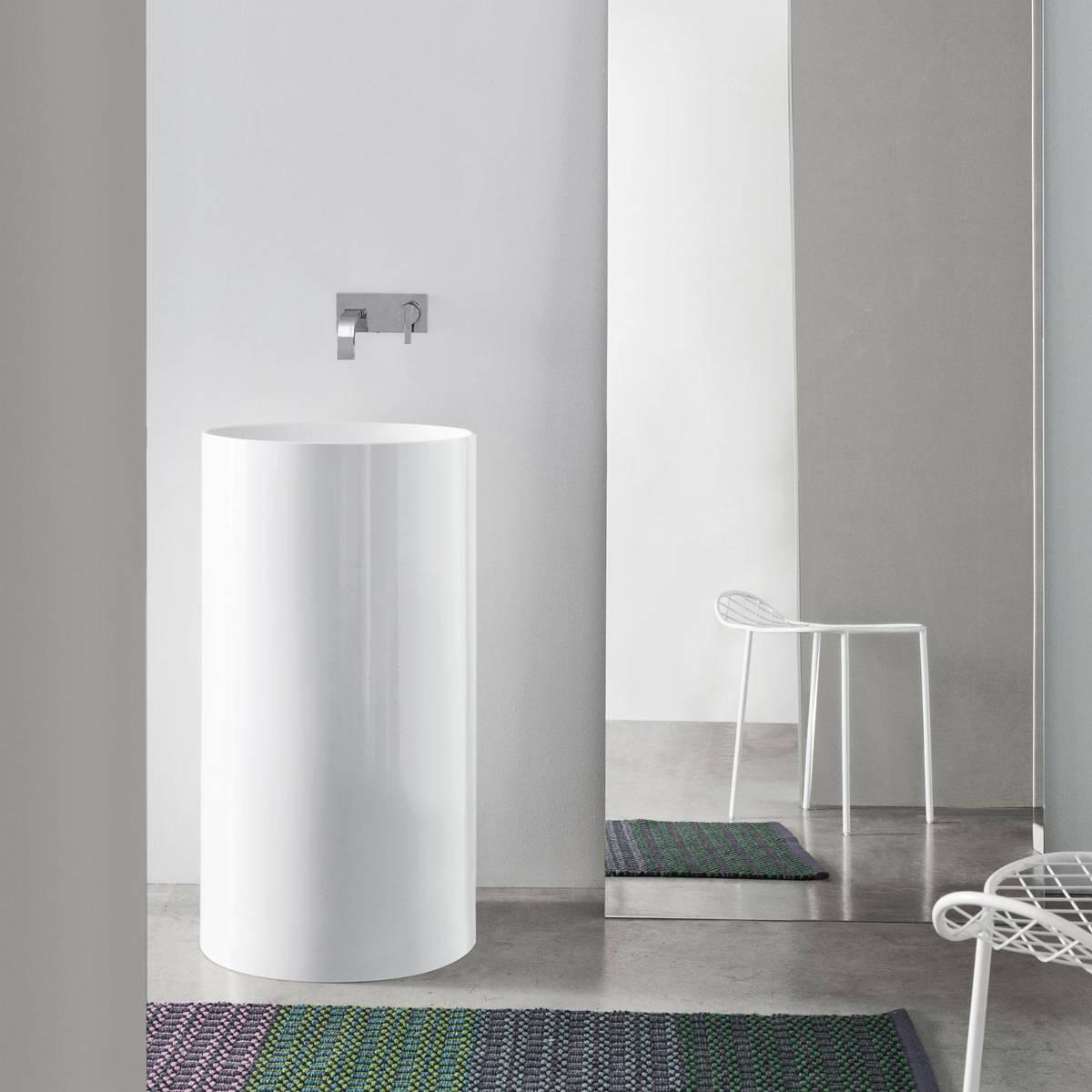 lavabo au sol ceramique sans trou pour robinet ovvio nic design