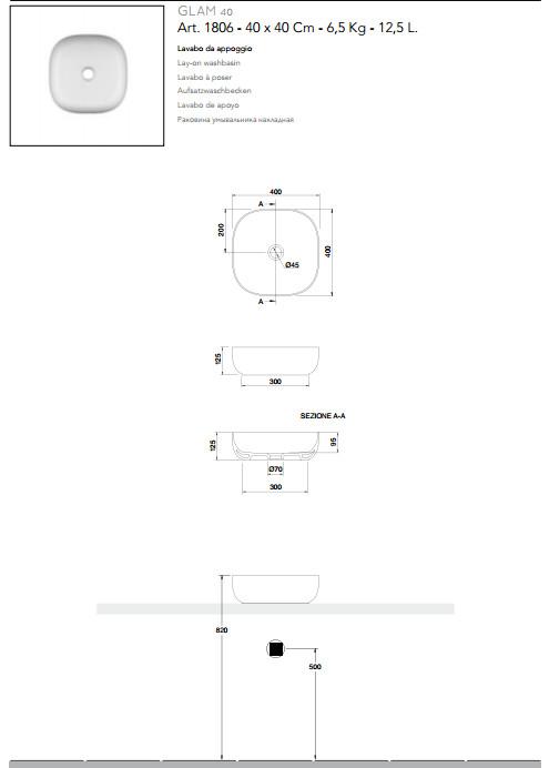 technische datenblatt aufsatzwaschbecken keramik 40x40 scarabeo glam