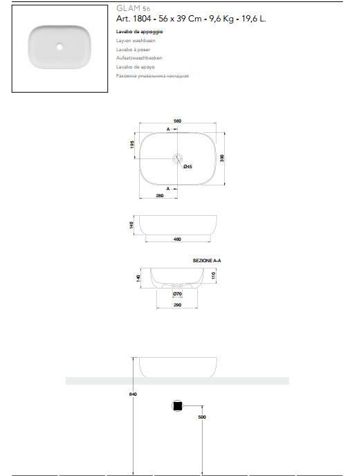 technische datenblatt aufsatzwaschbecken keramik 56x39 scarabeo glam