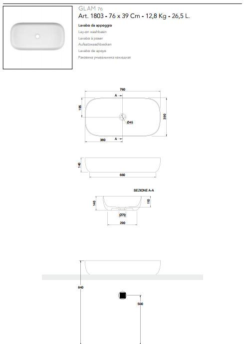 technische datenblatt aufsatzwaschbecken keramik 76x39 scarabeo glam