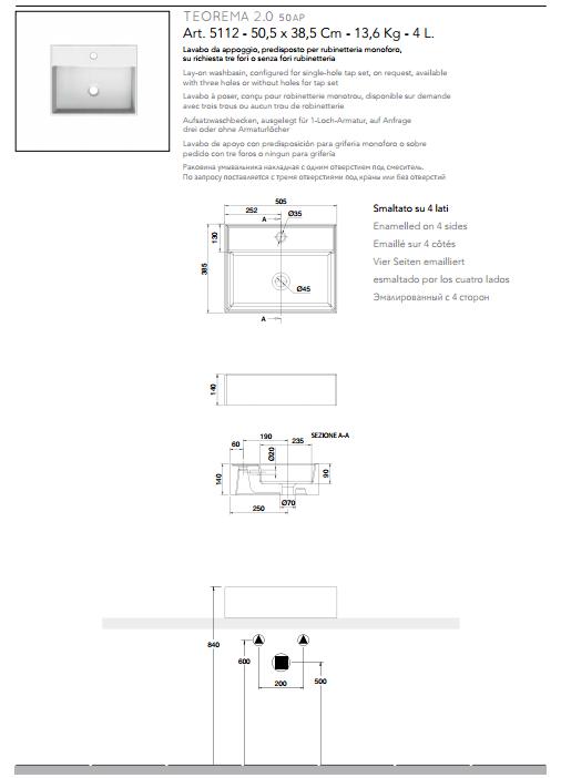 scheda tecnica lavabo da appoggio ceramica bianco 50,5x39,5 scarabeo teorema 2.0