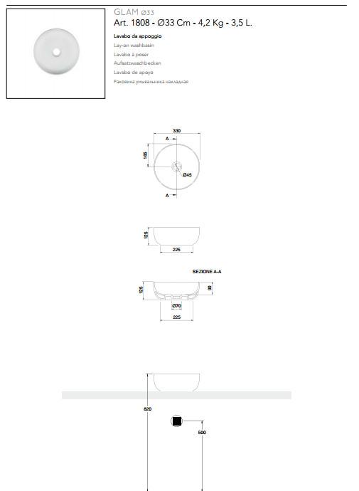 technische datenblatt aufsatzwaschbecken keramik Durchmesser 33 scarabeo glam