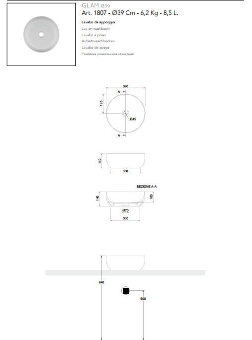 technische datenblatt aufsatzwaschbecken keramik Durchmesser 39 scarabeo glam
