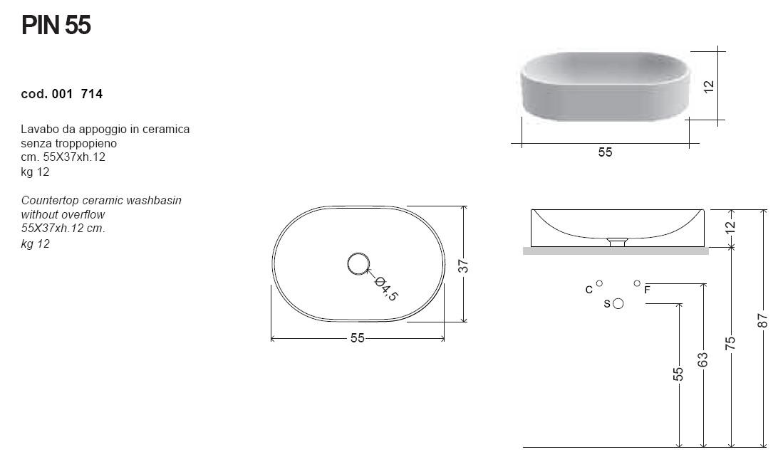 scheda tecnica lavabo da appoggio nic design pin 55