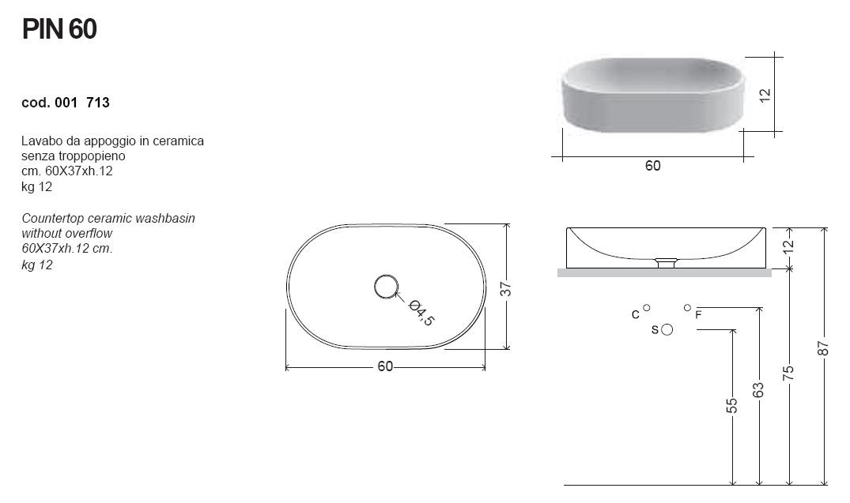 scheda tecnica lavabo da appoggio nic design pin 60