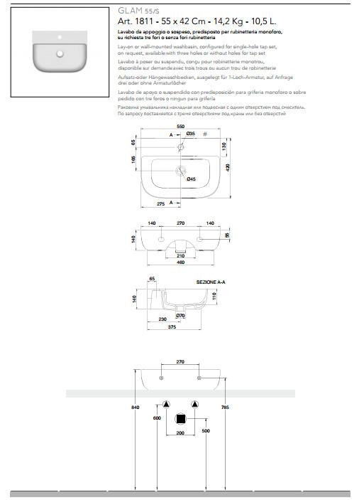 technische datenblatt aufsatz-oder hängewaschbecken keramik 55x42 glam s scarabeo