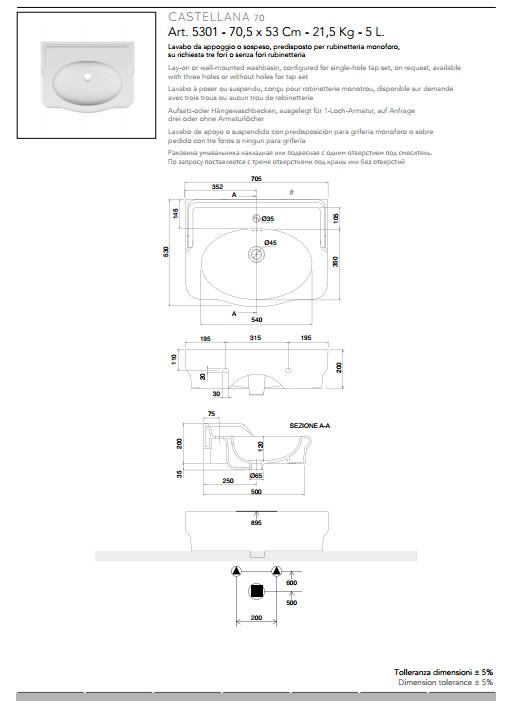 technische datenblatt aufsatz-oder hängewaschbecken keramik 70x53 castellana scarabeo