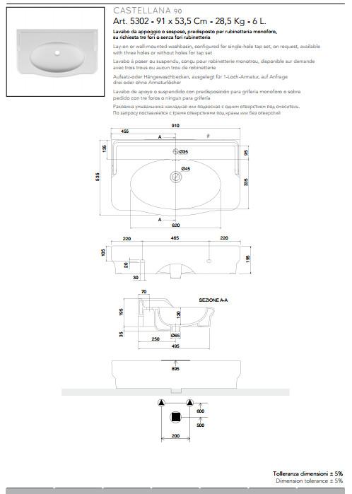 technische datenblatt aufsatz-oder hängewaschbecken keramik 91x53 castellana scarabeo