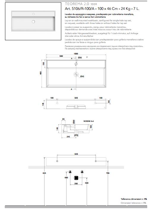 scheda tecnica lavabo da appoggio o sospeso ceramica bianco 100x46 teorema 2.0 scarabeo