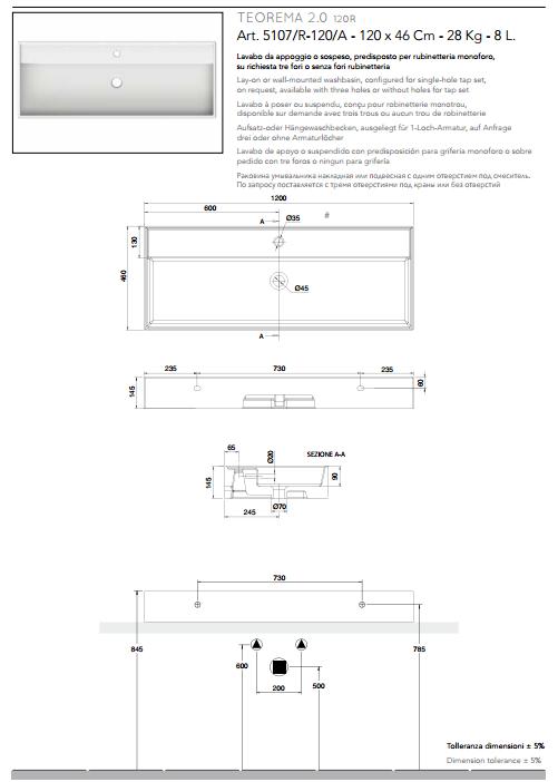 scheda tecnica lavabo da appoggio o sospeso ceramica bianco 120x46 teorema 2.0 scarabeo