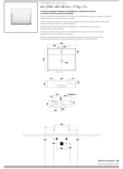scheda tecnica lavabo da appoggio o sospeso ceramica bianco 60x46 teorema 2.0 scarabeo