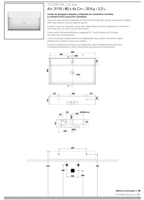 scheda tecnica lavabo da appoggio o sospeso ceramica bianco 80x46 teorema 2.0 scarabeo