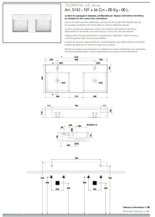 data sheet lay on or wall mounted washbasin double tank 101x46 scarabeo 2.0