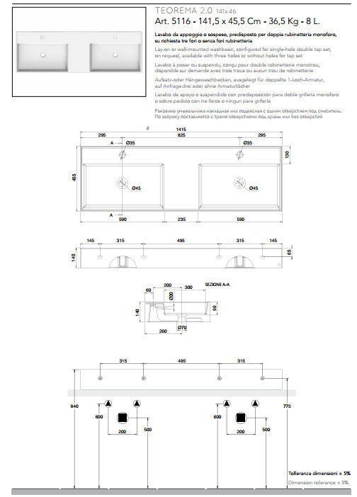 data sheet lay on or wall mounted washbasin double tank 141x46 scarabeo 2.0