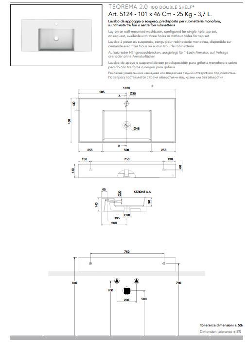 scheda tecnica lavabo da appoggio o sospeso in ceramica con doppia mensola 101x46 scarabeo teorema 2.0