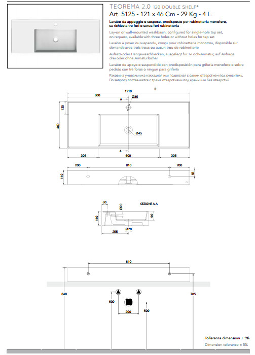 scheda tecnica lavabo da appoggio o sospeso in ceramica con doppia mensola 121x46 scarabeo teorema 2.0