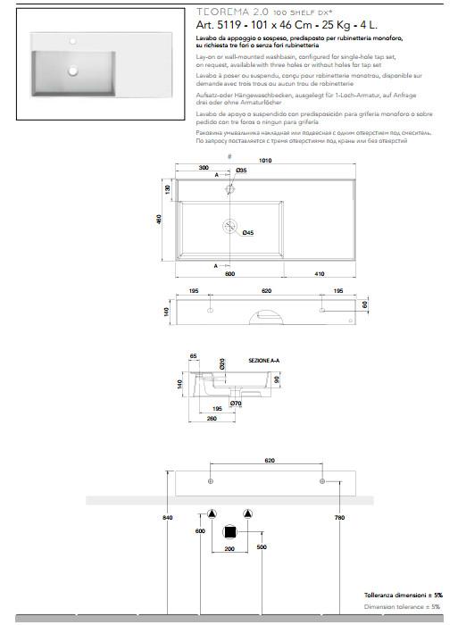 scheda tecnica lavabo da appoggio o sospeso in ceramica con mensola a destra 101x46 scarabeo teorema 2.0