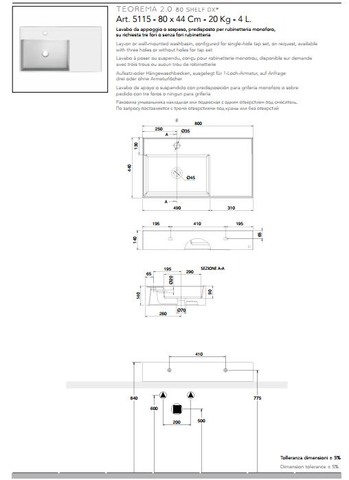 scheda tecnica lavabo da appoggio o sospeso in ceramica con mensola a destra 80x44 scarabeo teorema 2.0