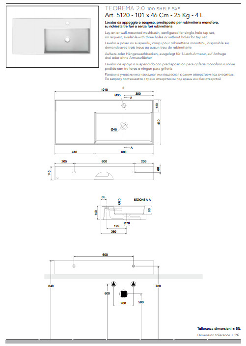 scheda tecnica lavabo da appoggio o sospeso in ceramica con mensola a sinistra 101x46 scarabeo teorema 2.0