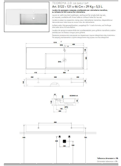 scheda tecnica lavabo da appoggio o sospeso in ceramica con mensola a sinistra 121x46 scarabeo teorema 2.0