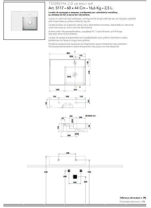 scheda tecnica lavabo da appoggio o sospeso in ceramica con mensola a sinistra 60x44 scarabeo teorema 2.0