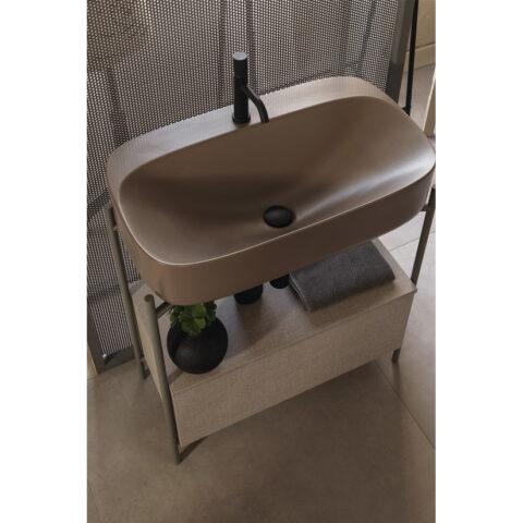 bathroom furniture in steel lcolored washbasin scarabeo diva