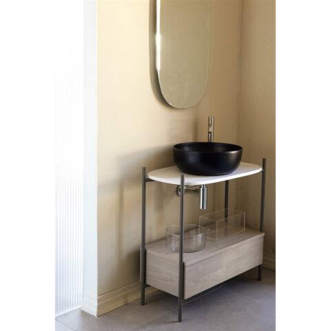 bathroom console in steel ceramic shelf scarabeo diva