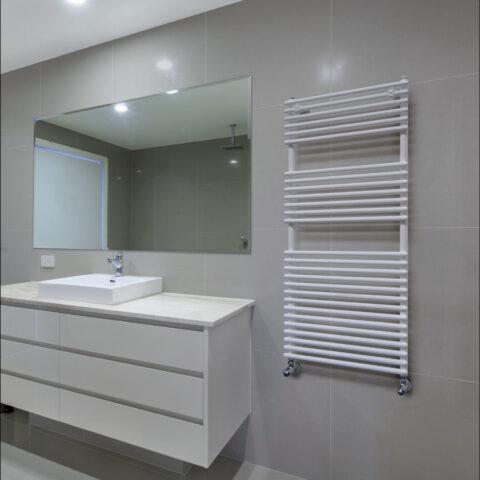 heated towel rail bathroom white colored plus 20 brem
