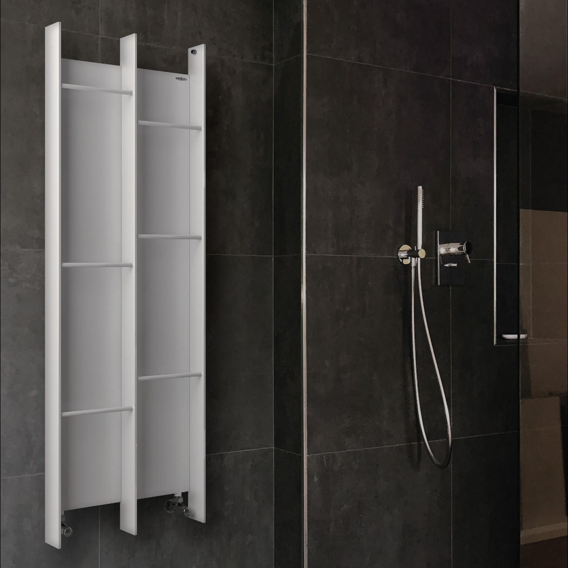 heated towel rail white colored brem kuo