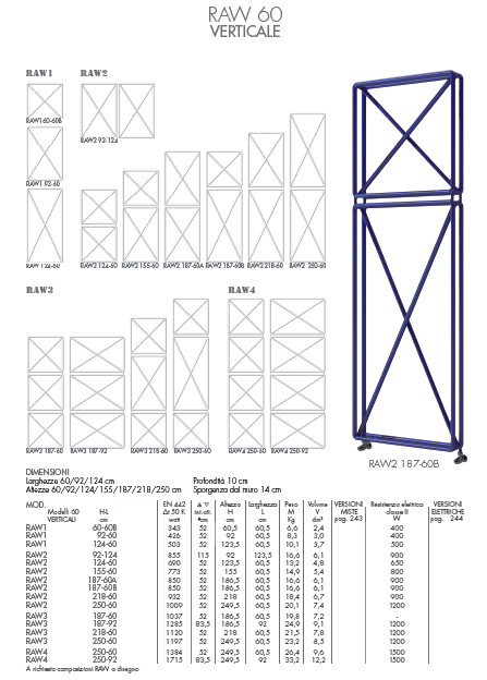 data sheet radiator raw 60 vertical brem