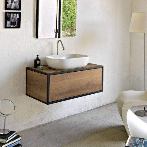 washbasin holder structure 90 cm with drawer scarabeo frame
