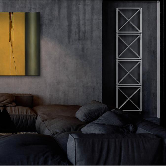 living radiator white colored tubular brem raw vertical