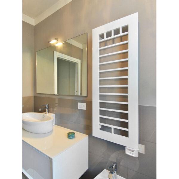 electric heated towel rail white colored quar brem