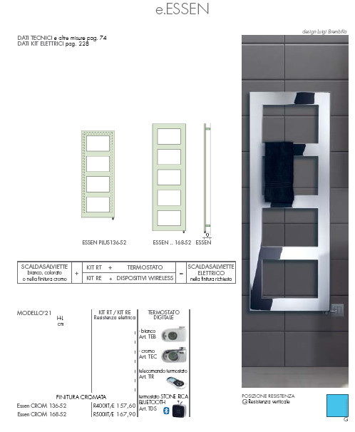 data sheet electric heated towel rail chromed essen crom brem