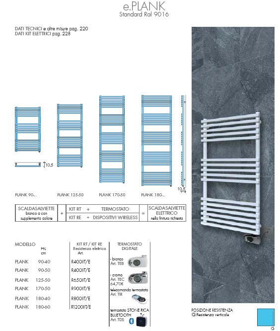 scheda tecnica scaldasalviette elettrico plank brem