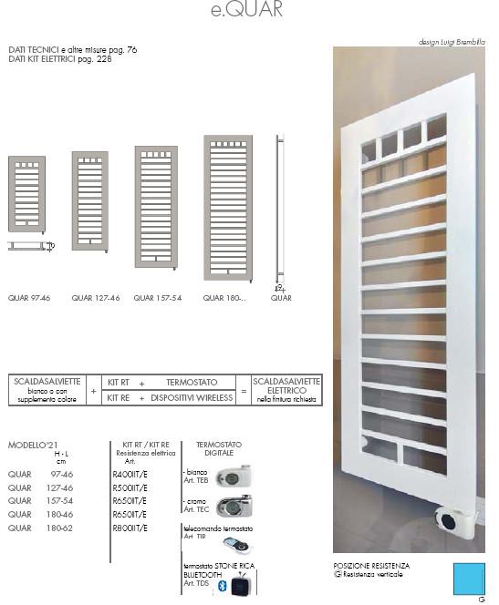 data sheet electric heated towel rail quar brem