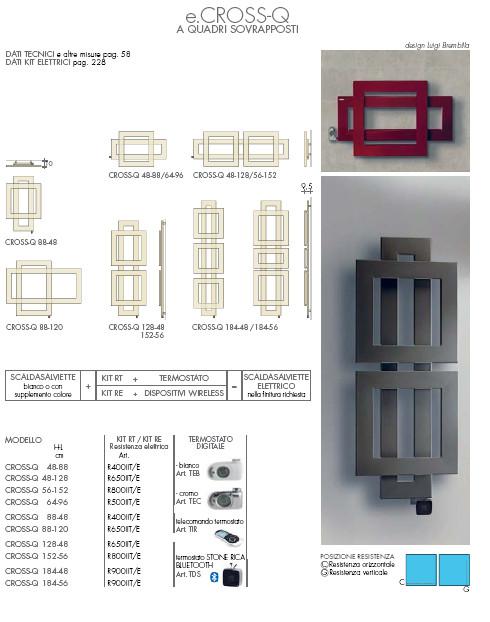 scheda tecnica termoarredo elettrico cross q a quadri sovrapposti brem