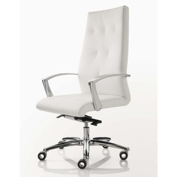 sedia da ufficio pelle bianca luxy one