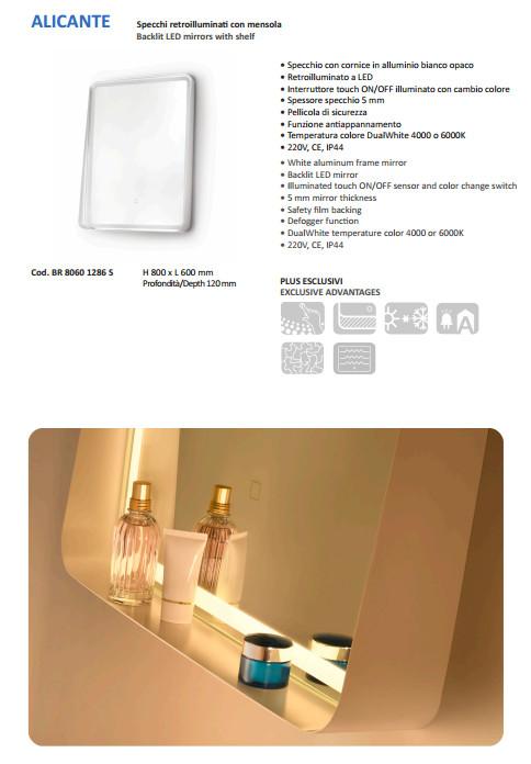 scheda tecnica specchio bagno vanità e casa alicante