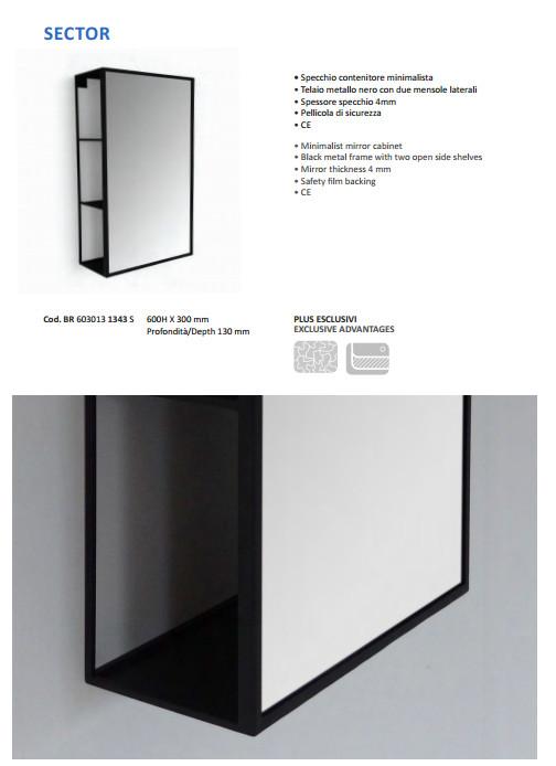 data sheet bathroom mirror vanità e casa sector