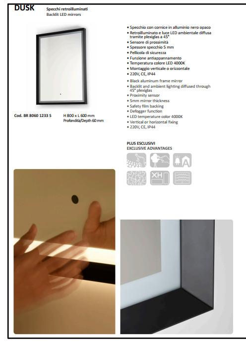 scheda tecnica specchio retroilluminato dusk vanità e casa