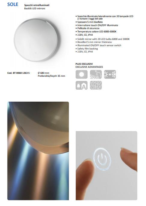 scheda tecnica specchio retroilluminato sole vanità e casa