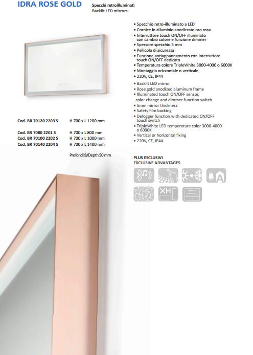 scheda tecnica specchio retroilluminato vanità e casa idra rose gold