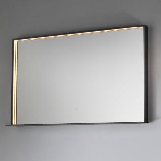 miroir de salle de bain illuminé avec étagère vanità e casa fenice black