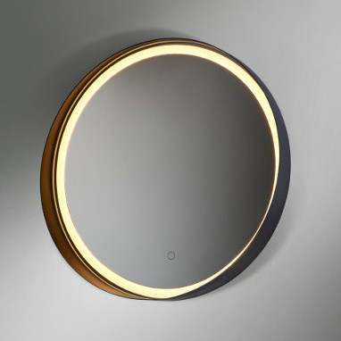 miroir de salle de bain illuminé led bordure noire alicante ronde vanità e casa