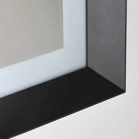 specchio retroilluminato led bagno dettaglio cornice vanità e casa dusk